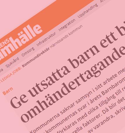 Dagens Samhälle uppmärksammar resultatet av 2018 års Barnbarometer i en redaktionell artikel i dagens (190319) utgåva.