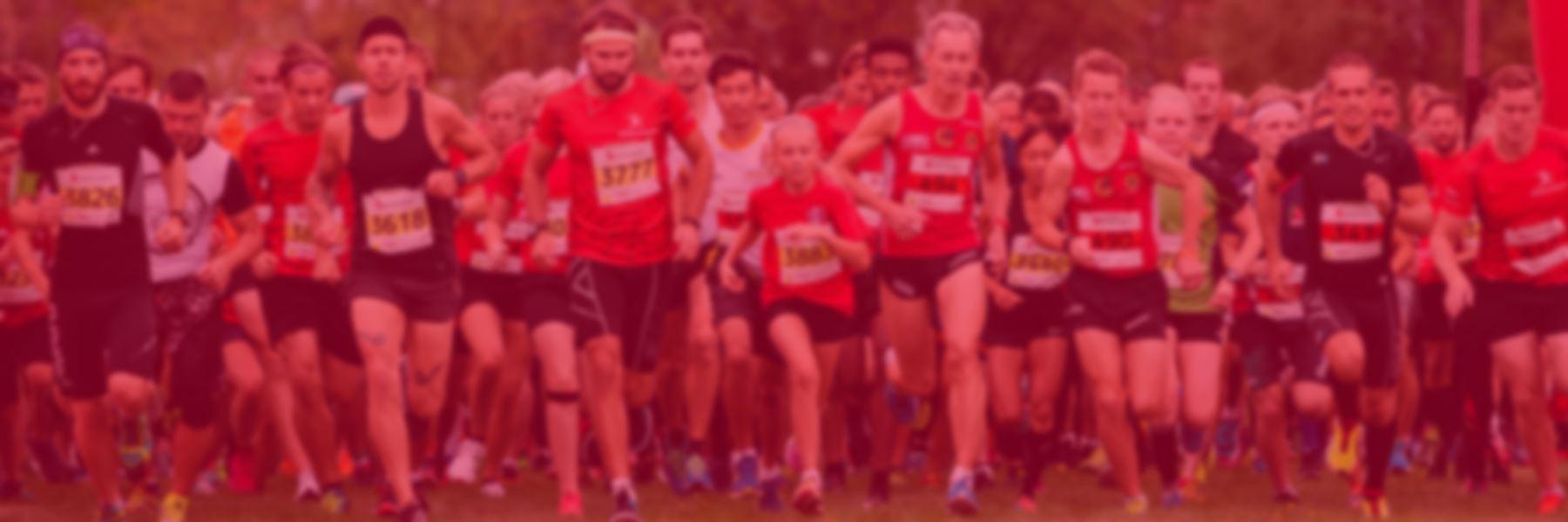 Alla tävlande börjar springa när starten går vid Blodomloppet